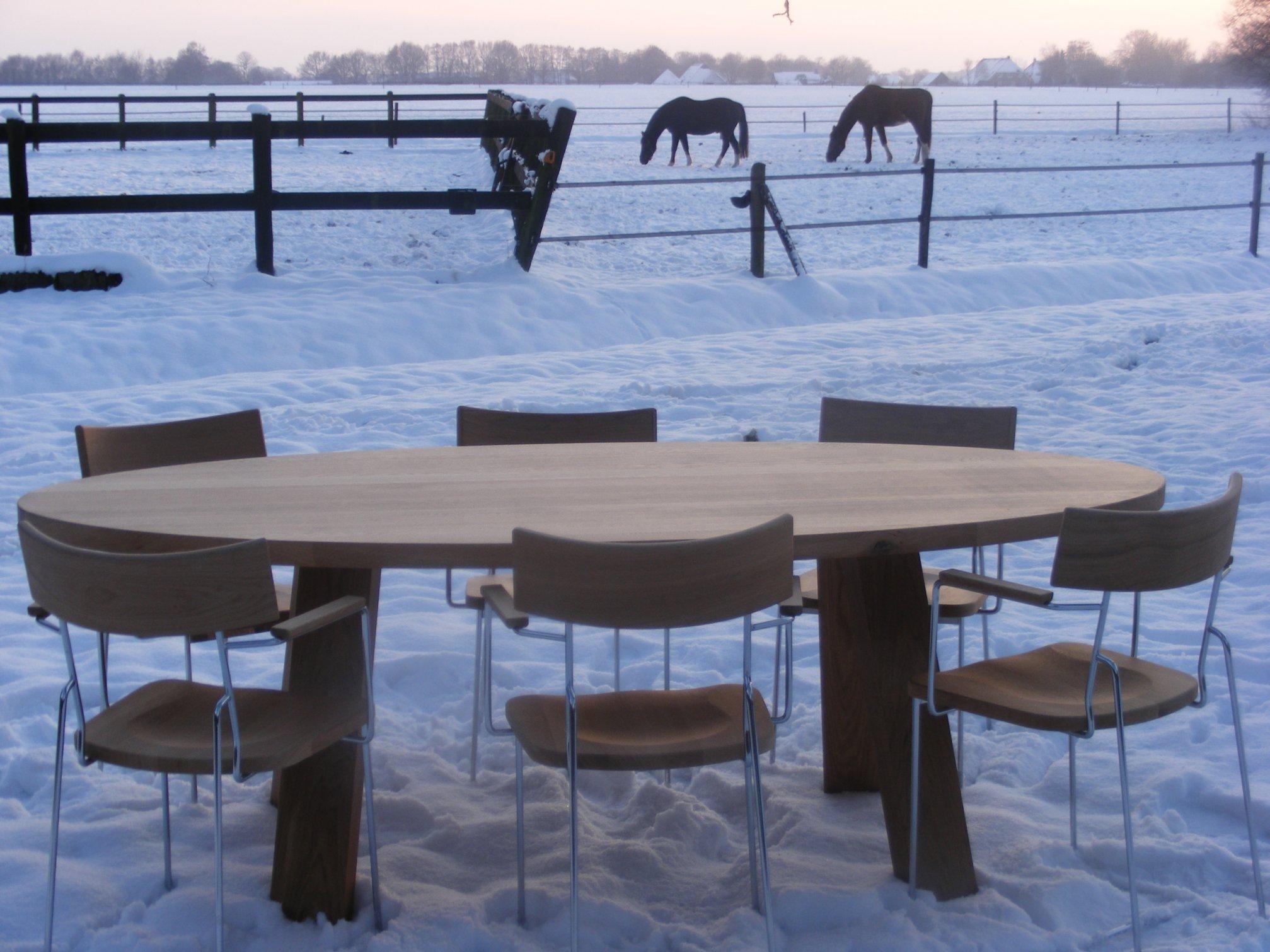 Eettafel met eikenhouten stoelen